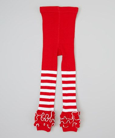 Take a look at this Red & White Stripe Ruffle Tights - Infant & Toddler by Sweet Cheeks on #zulily today!
