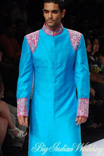 blue sherwani with pink embroidery