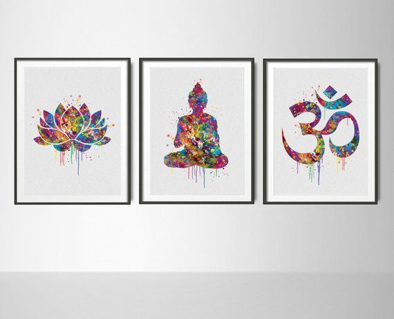 Yoga Art Watercolor Print Set Modern Home Decor Buddha Ohm Lotus