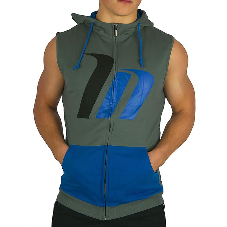 The Muscle Nation Signature Style Premium Sleeveless Hoodie is here inBlue!- Fabricated with performance fabric,
