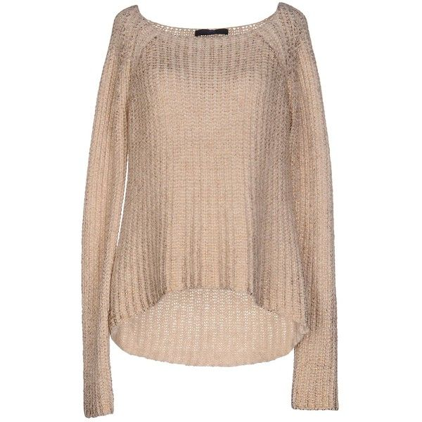 Blue Les Copains Jumper ($150) ❤ liked on Polyvore featuring tops, sweaters, beige, jumpers sweaters, wide neck tops, long sleeve sweater, long sleeve tops and beige sweater