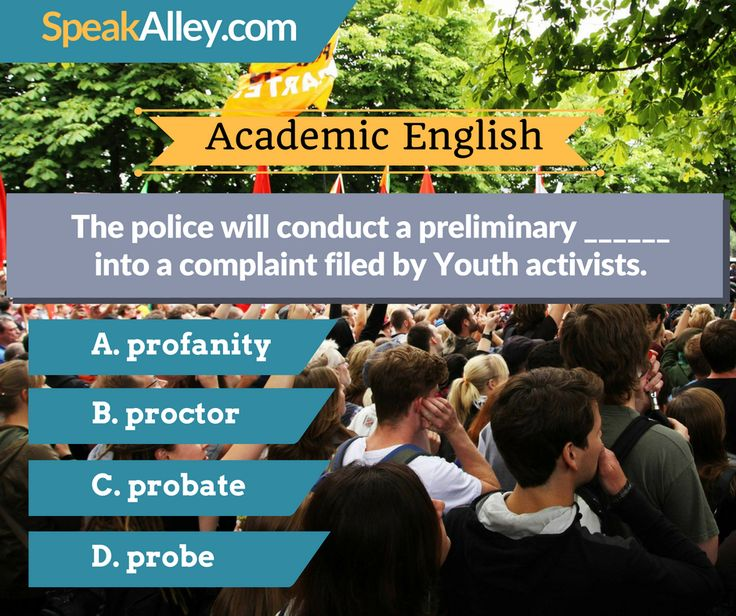 #Academic #English #Quiz #Vocabulary  Hello IELTS, TOEFL and other English test takers. Here is your quiz for today. Find the answer at http://lnk.al/35K1   #TOEFL #IELTS #GRE #Speaking #SpeakAlley