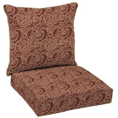 Patio Cushion Ideas   Hampton Bay Bargello Paisley Outdoor Deep Seating  Cushion Set   The Home