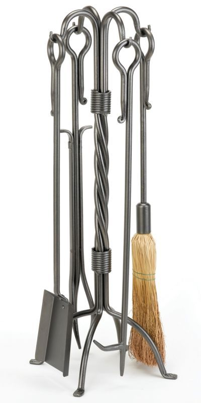 "Woodfield 61215 31"" Tall 4 Piece Twisted Vintage Iron Tool Set with Extended Loo Vintage Iron Accessory Fireplace Toolset"