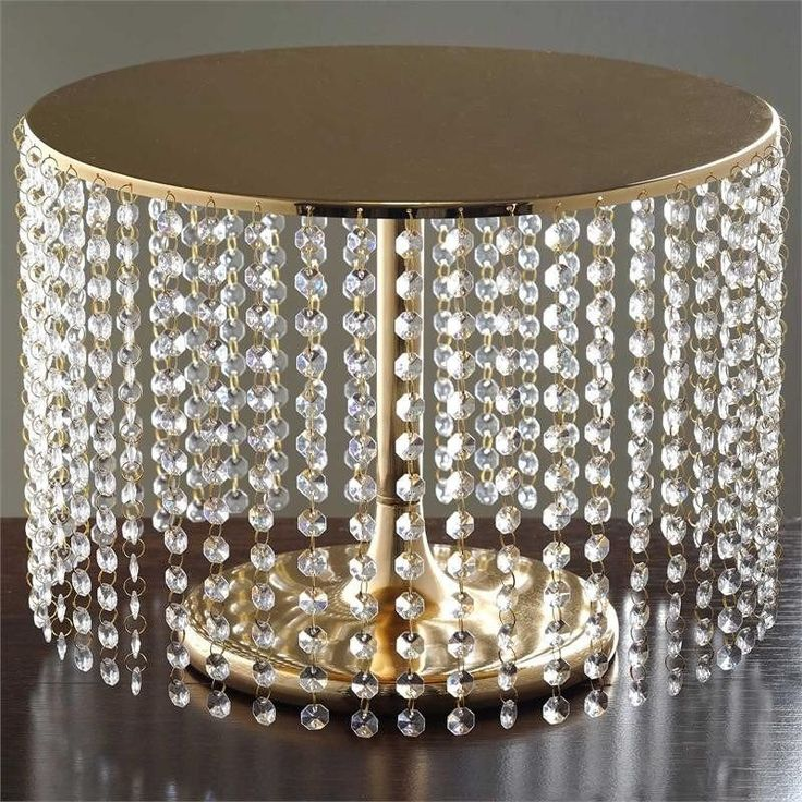 """Eloquent Crystal Pendants Metal Chandelier Wedding Cake Stand - Gold - 12"""" Tall( Sold Out until 2017-04-03)"""