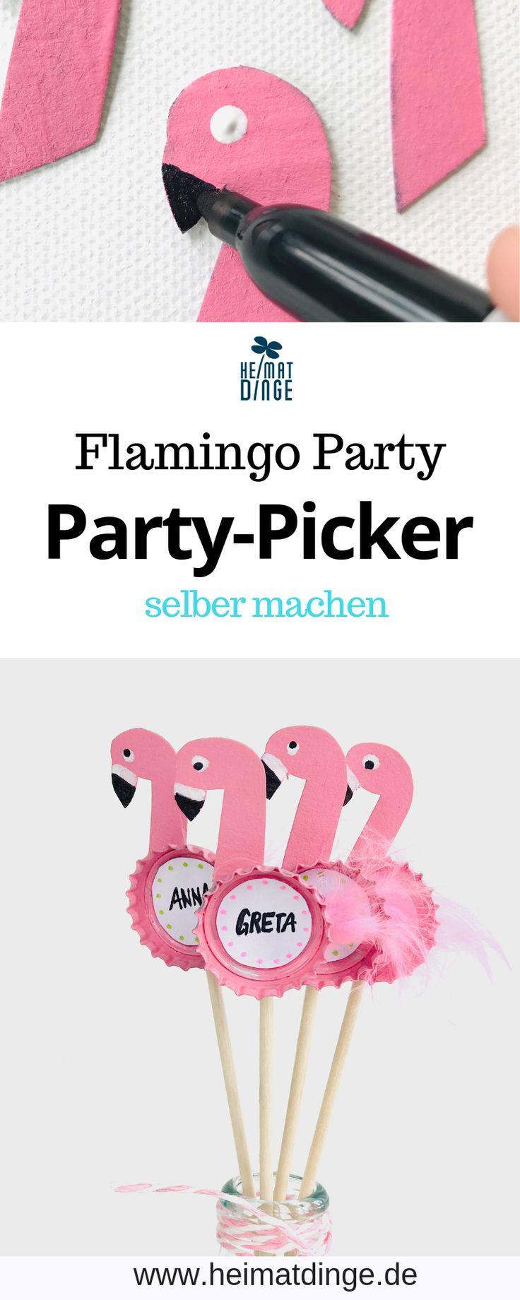 Flamingo basteln – Party Sticks selber machen