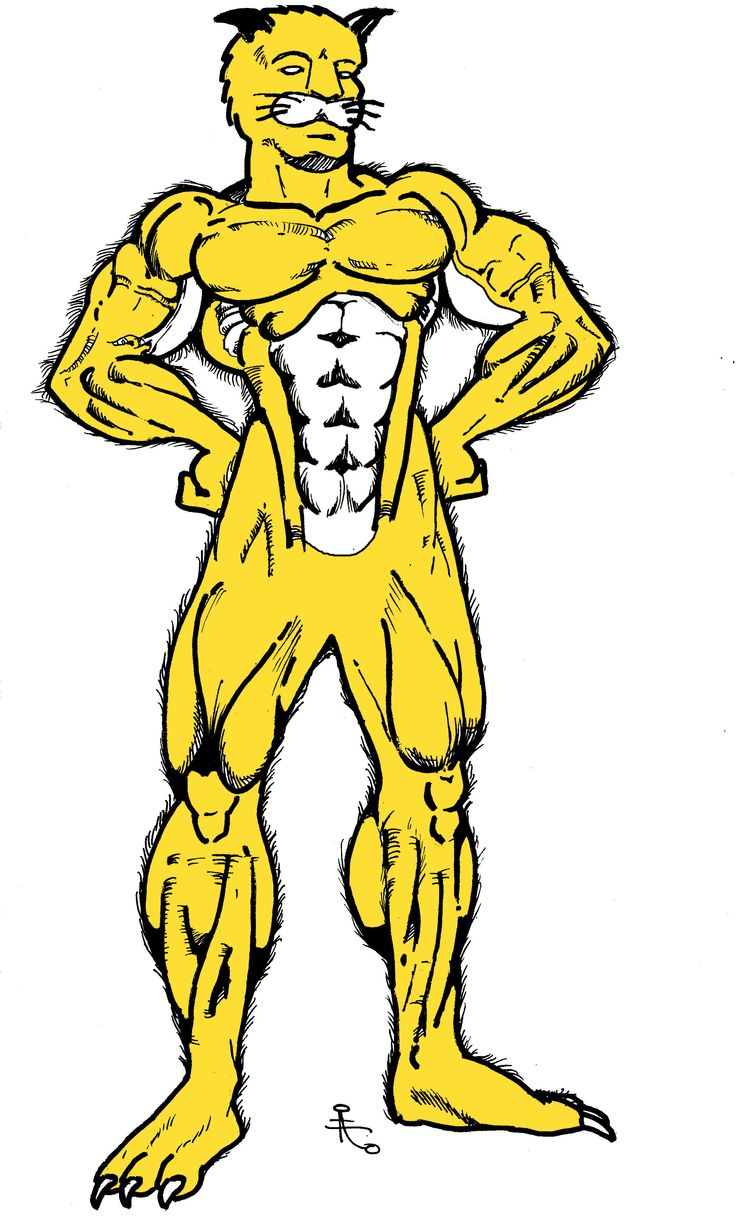 This was an early attempt at creating an anime-like hero/mascot for my High School called Panther Man. It did not receive approval because he is not wearing pants. Yes, he is naked and panthers in Florida are golden for your information.