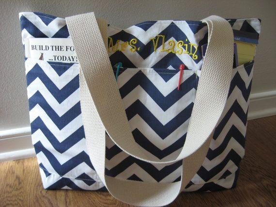 Large Chevron Teacher Bag,  Beach Bag Deluxe Monogrammed, REVERSIBLE, Chevron