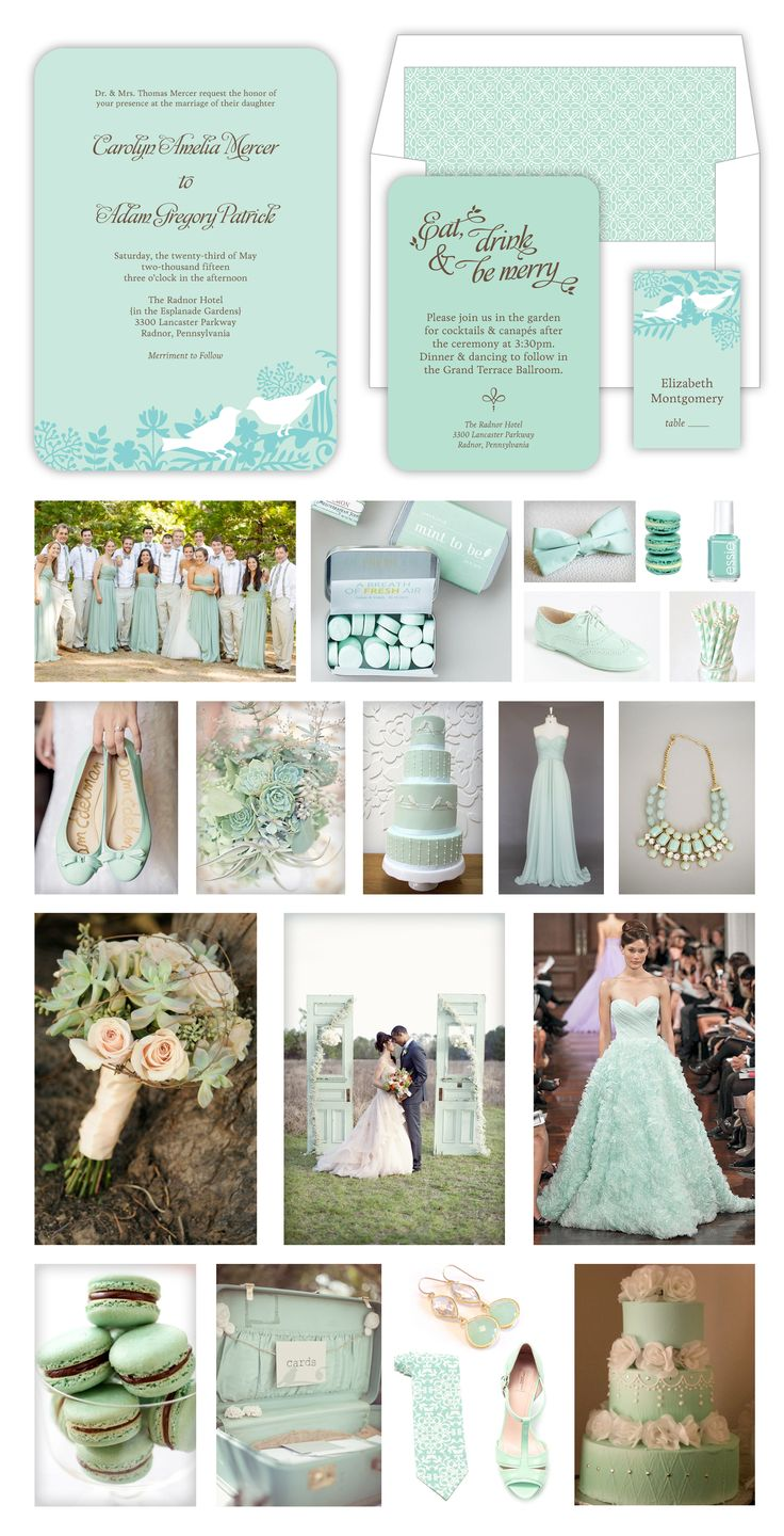 Mint & Gold Beach Wedding -- Waves, Sea Shells, Sea Glass, Chevron -- Mint & Gold & White Wedding Stationary by Lauren DiColli Hooke for KleinfeldPaper.com