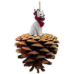 White German Shepherd Pinecone Christmas Ornament