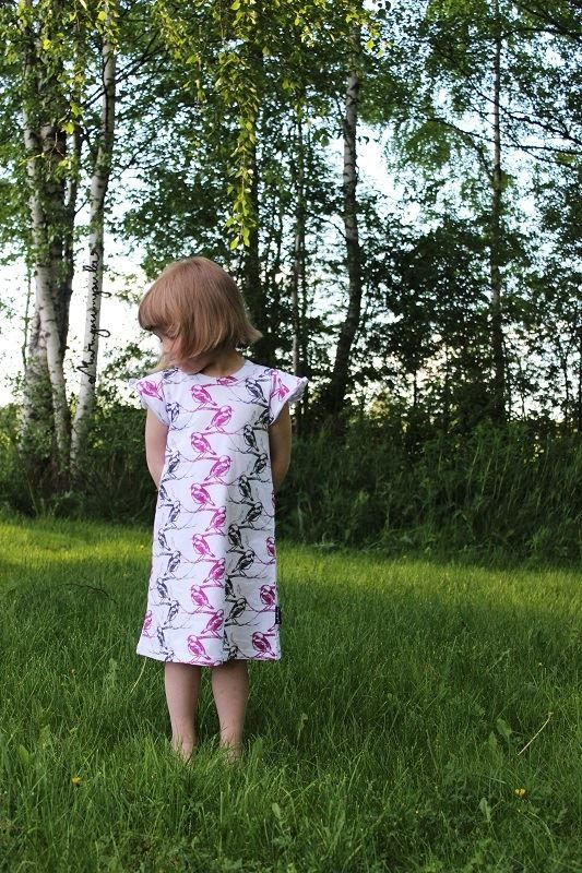 Childrens dress Lintu (material cotton/elastane, made in Finland all the way from weaving! :) )