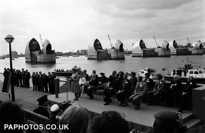 Queen Elizabeth II officially opening the 460 million Thames Barrier at Woolwich in 1984