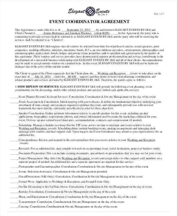 15 Wedding Planner Contract Sample Paystub Event Planning Contract Event Planning Template Contract Agreement