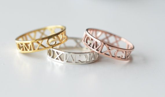 14k Solid Gold,  Personalized Ring, Roman Numeral Ring, Cut out Ring, Birthday, Valentines Day, Wedding Band, Christmas Gift
