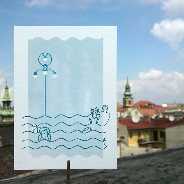 Bathers in Budapest greeting card by nemessis