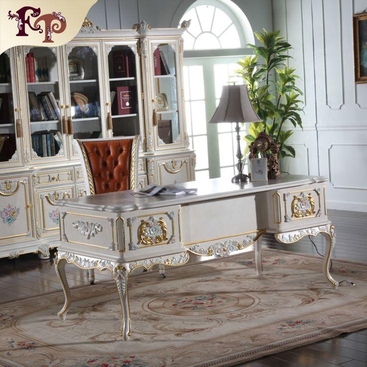 Luxury Home Office Furniture Teak Hand Carved Furniture Classic Italian  Antique Study Room Furniture Set