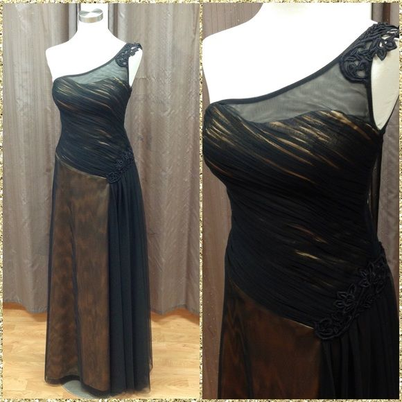 Elegant black and gold gown!  One shoulder gown multi colored: black and gold Alyn Rose Dresses