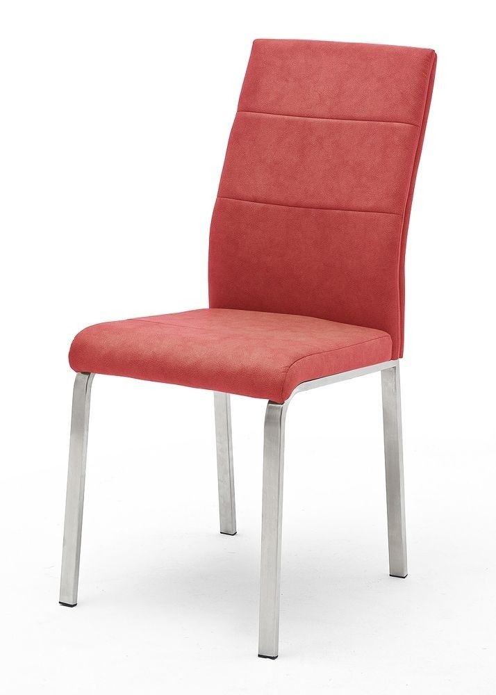 Küchenstuhl Rot Flores B 4-Fuß Gestell 9054. Buy now at https://www.moebel-wohnbar.de/kuechenstuhl-rot-flores-b-2er-set-4-fuss-gestell-edelstahl-9054.html
