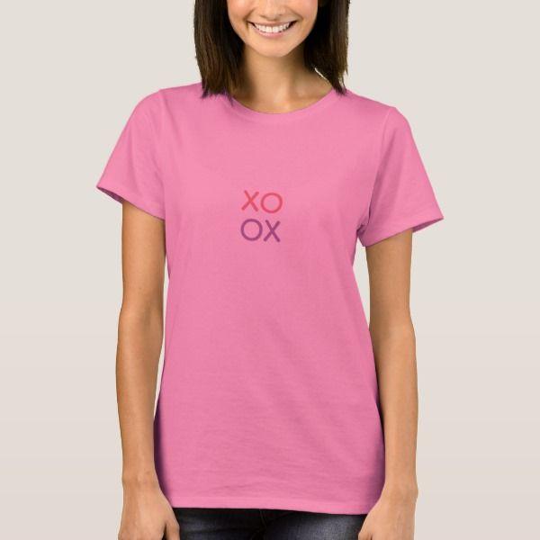 """T-shirt """"XO OX"""" roze."""