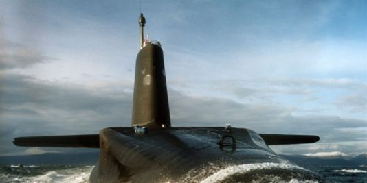 Royal Navy Nuclear Submarine HMS Vanguard,lead boat of Trident class ballistic missile armed submarine fleet.