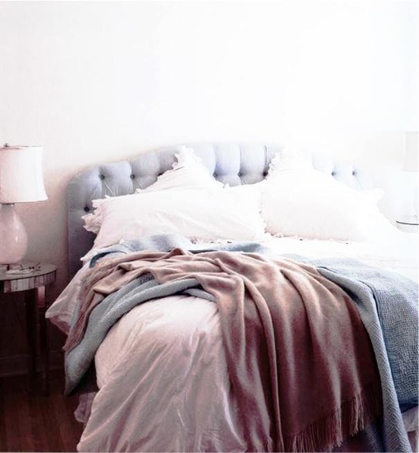 bedroom: Neutral Colors, Colors Combos, Color Combos, Blue Headboard, Purple Hue