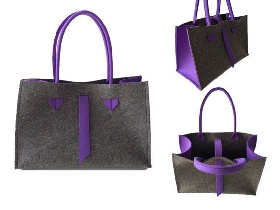 ArtAK FACE Bag. Wool felt tote bag. Made to order. by ArtAK