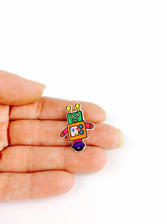 Robot pin. Space pin. Robot birthday gift. Pin badge. Cute