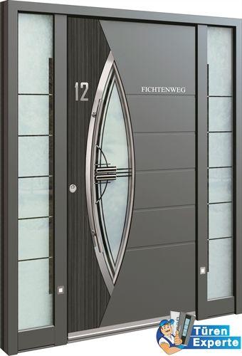 Moderne Haustüre AAE 1047 mit Edelstahl Applikation und Dekor jetzt auf http://www.tueren-experte.de konfigurieren.