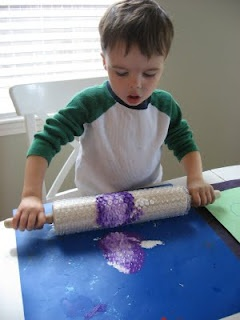 Put bubble wrap on a rolling pin