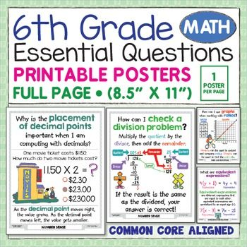 Bring sixth grade math to life with these big, easy-to-use posters. The illustrations help my students understand sixth grade math concepts like ratios and proportions, number sense, fractions, expressions and equations, geometry, and statistics. Beyond the instructional benefits, what I really love about this poster bundle is that it has EVERY sixth grade math concept in one small file that I'll never LOSE!