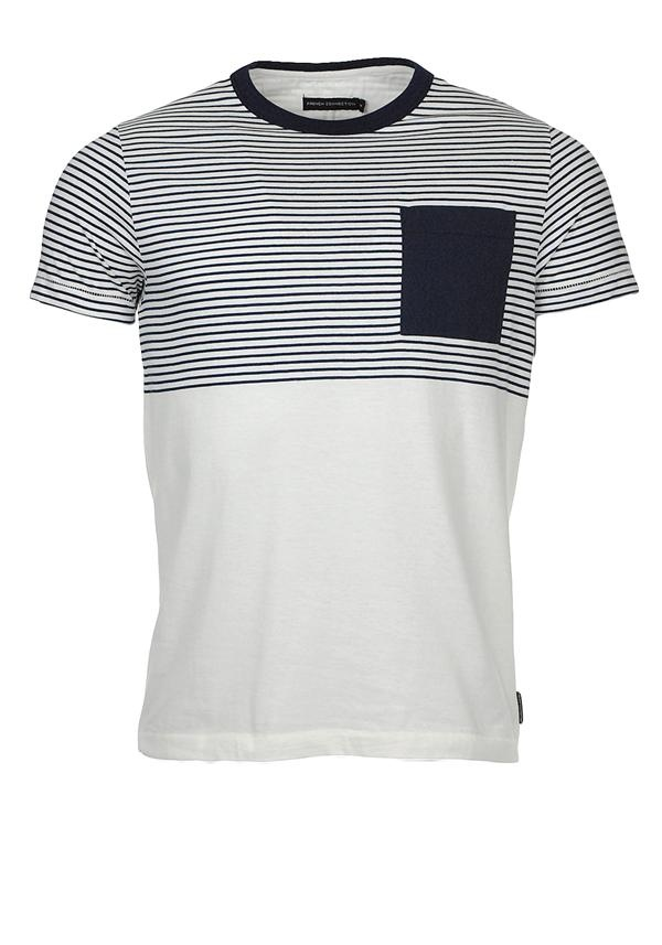French Connection Strategy Striped T-Shirt, Navy and Cream