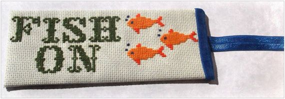 Check out Fish On! Summer gift idea! Specialty Cross-Stitched Large Bookmark with Navy Blue Elastic Bookmark Tail. on bookmarksandmore4uet