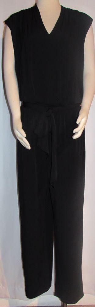 NEW Womens Ladies Plus MACY'S INC Black Silky Stretch Pants Jumpsuit 2X Orig $99 #INCInternationalConcepts #Jumpsuit