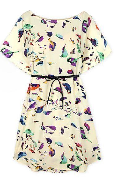 Beige Batwing Short Sleeve Birds Print Shift Dress -