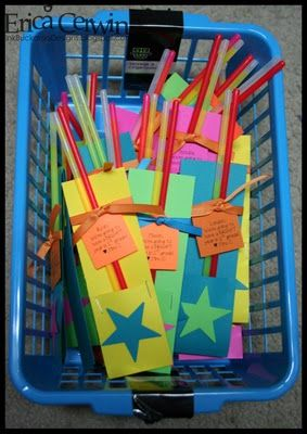 "Open House gifts with glow sticks - ""We're going to have a bright year!"""