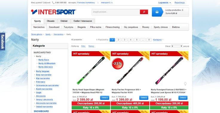 Intersport. Category page. Promoted items on top, promotions higly visible, key advantages in red.