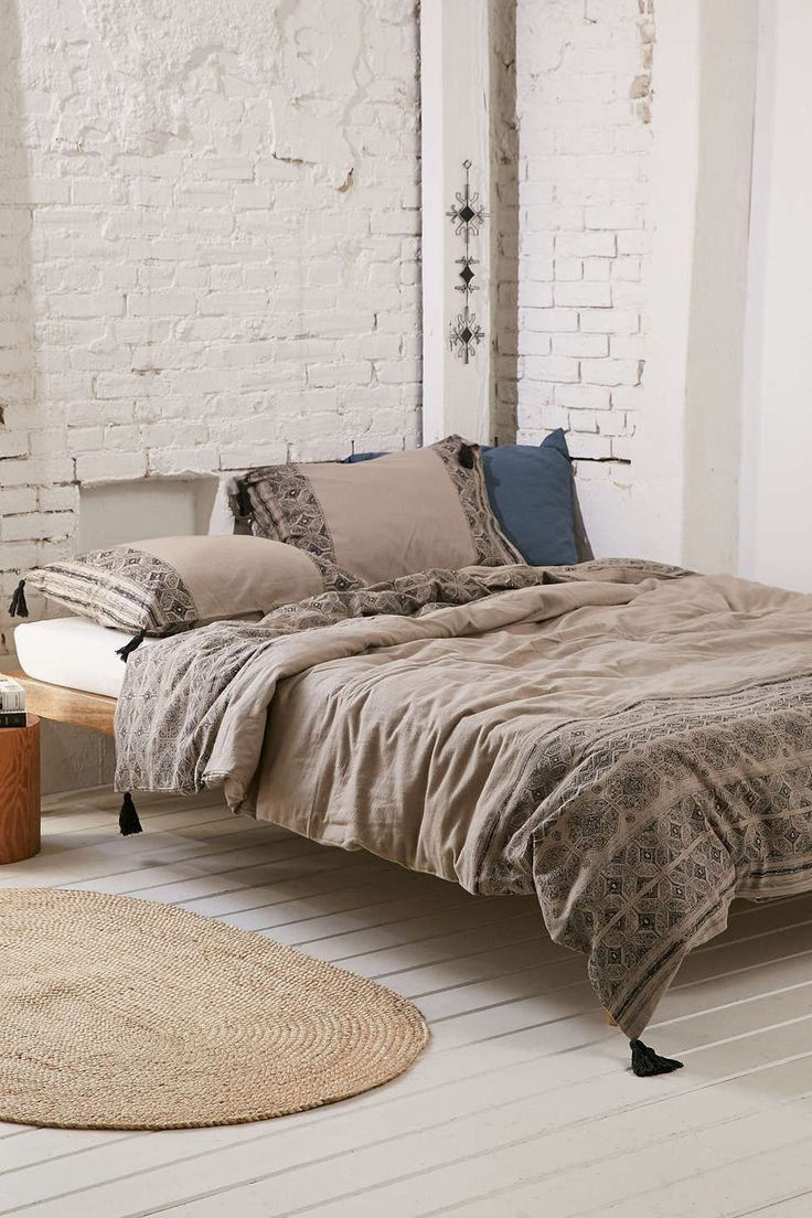 Use Urbanoutfitters.com to furnish bedroom. Magical Thinking Esrin Block Print Flannel Duvet Cover