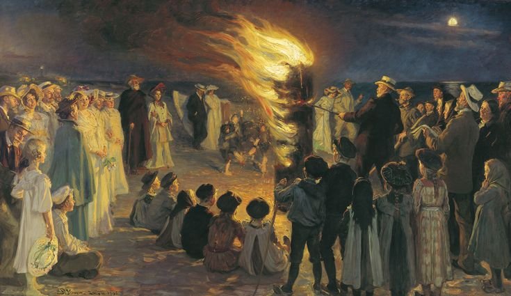 P.S Krøyer: Midsummer Eve bonfire on Skagen's beach. 1906   Skagens Kunstmuseer    Art Museums of Skagen