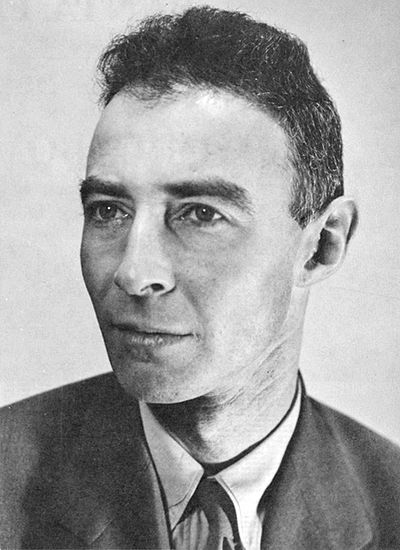"J. Robert Oppenheimer, 1944. American theoretical physicist and professor of physics at the University of California, Berkeley. Along with Enrico Fermi, he is  called the ""father of the atomic bomb"" for his role in  the WW II project that developed the first nuclear weapons. The first atomic bomb was detonated on 1945,  in New Mexico; Oppenheimer remarked later that it brought to mind words from the Bhagavad Gita: ""Now I am become Death, the destroyer of worlds."" (from Wikipedia)"