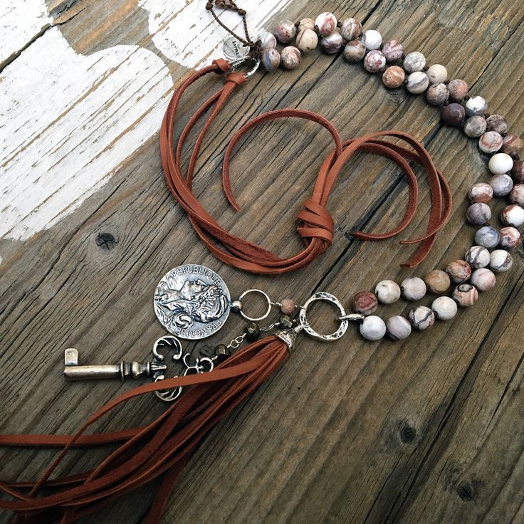 Long Bohemian Relic Coin Key Necklace, Buttery Sable Leather Tassel, Skeleton Key, Relic Coin, Knotted Necklace by DeetabyDesign on Etsy