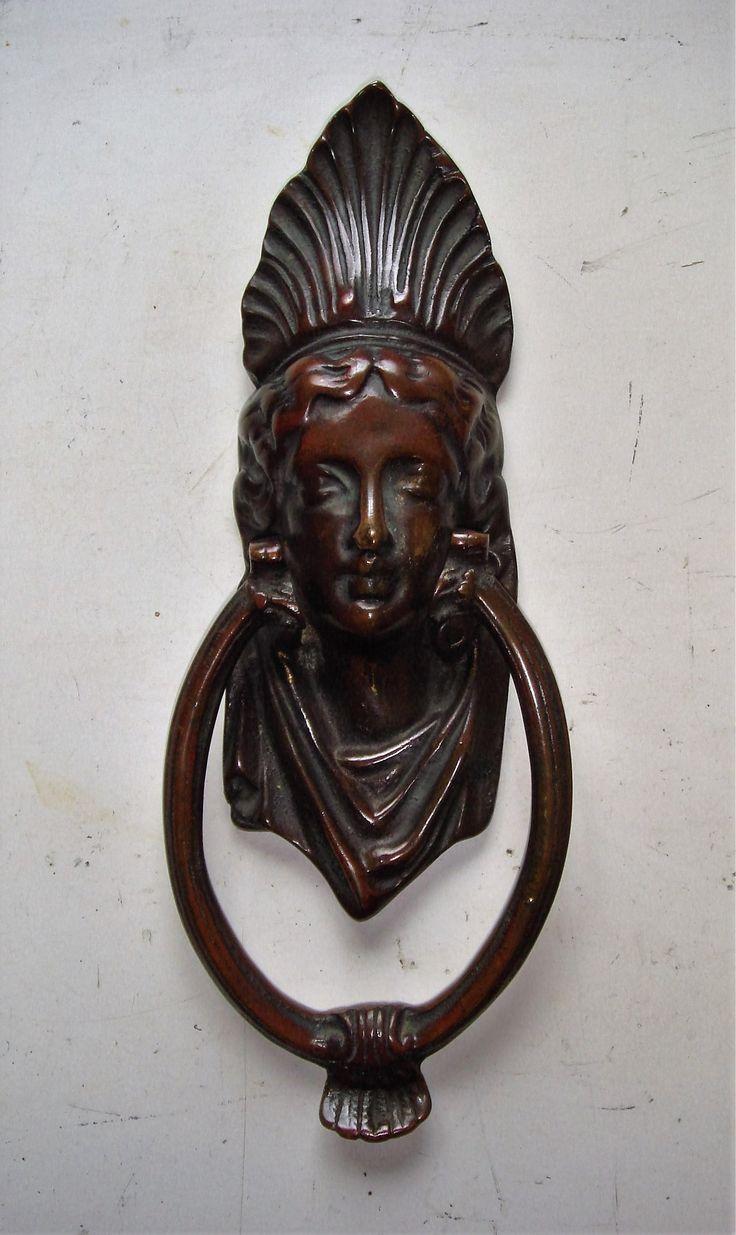 Genuine Edwardian Egyptian Queen Or Greek Goddess Brass Door Knocker. I  Canu0027t Quite