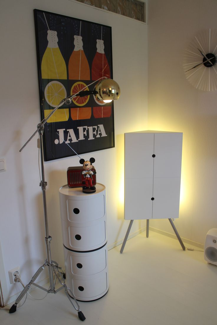 Kartell Componibili. Ikea PS 2014 Corner cabinet. Jaffa poster from 1959.