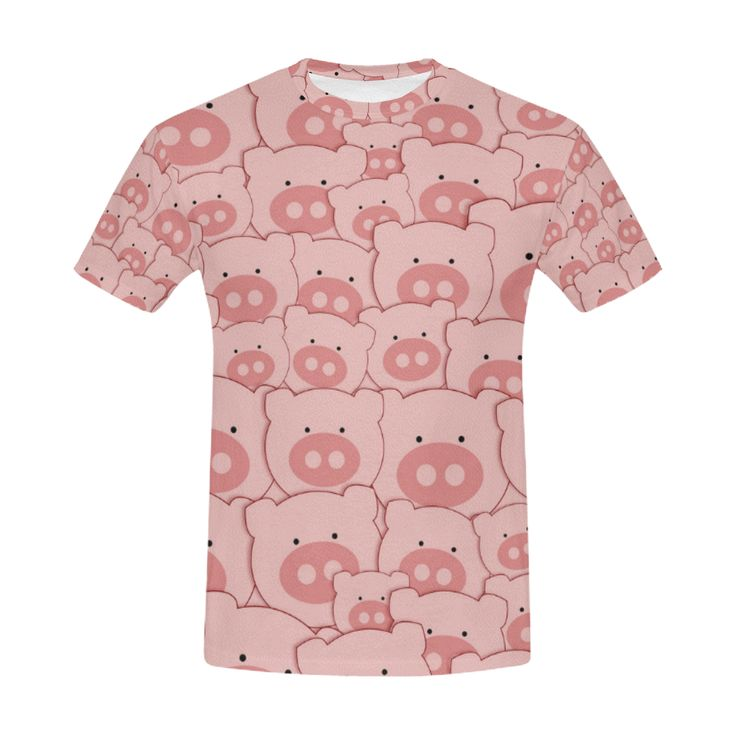 Pink Piggy Pigs All Over Print T-Shirt for Men (USA Size) (Model T40)