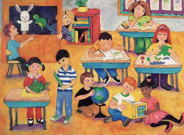 Great title for this wonderful impression of children in the classroom, Peggy!!! Looks like more fun  than I can recall!