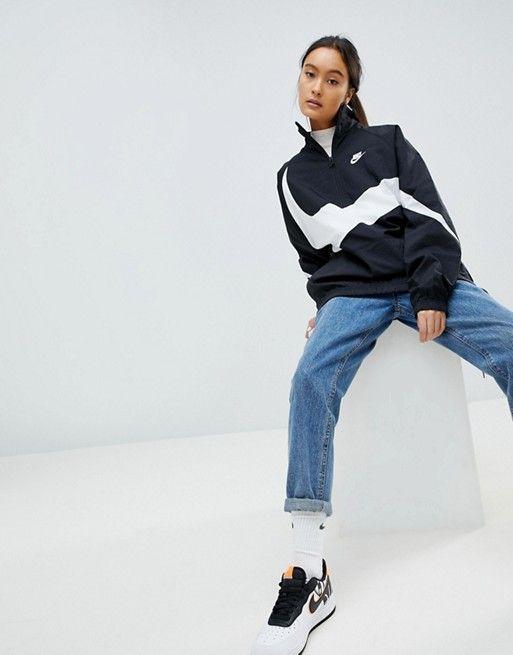 fa448491af9a Nike Vaporwave Oversized Half Zip Track Jacket In Black With Large ...