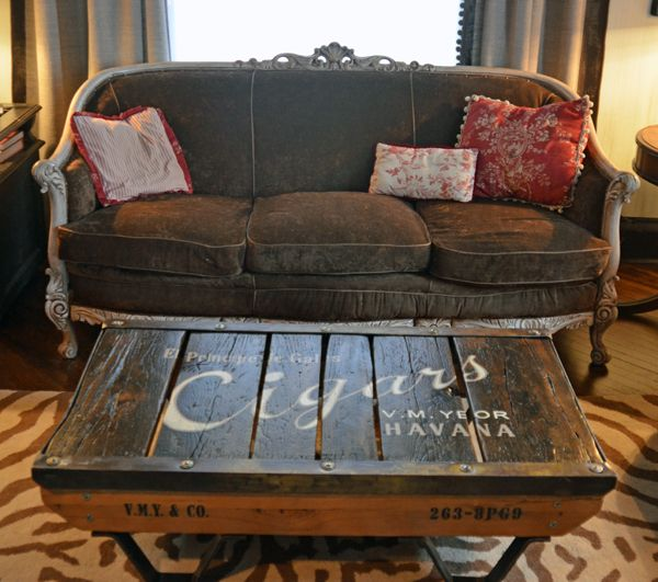 Vintage pallet coffee table with a cigar theme, from Second Chance Art & Accessories®.  $2450 http://www.secondchanceart.net/item_303/Vintage-pallet-cigar-themed-coffee-table.htm