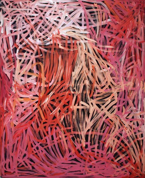 Emily Kame Kngwarreye painting Wild Yam Dreaming, 1995, acrylic on canvas, 47 x 35 inches