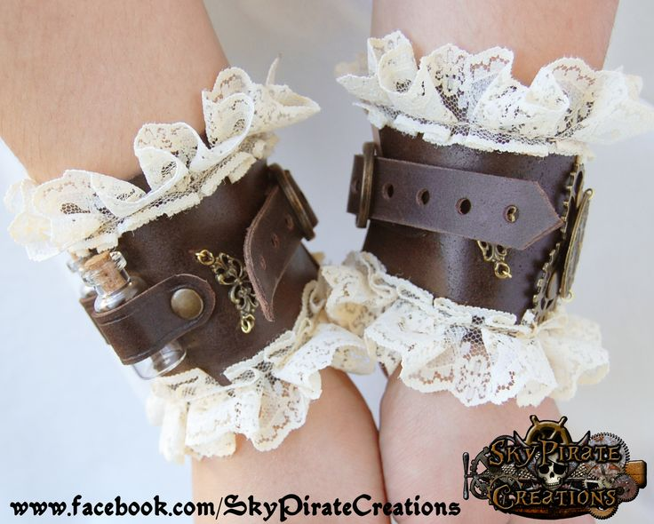 Victorian Steampunk Dorothy Leather Cuffs - Bracelets & Wristbands