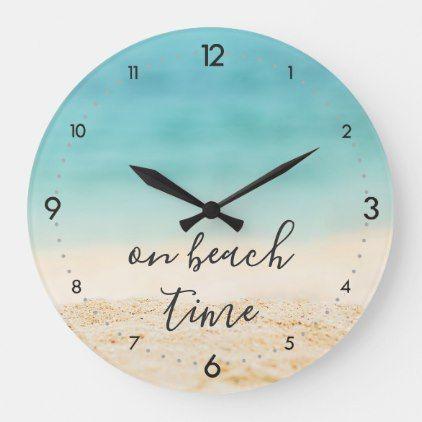 "Aqua Ocean + Sandy #Beach ""on beach time"" Coastal Large Clock   Zazzle.com"