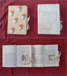 Como la novia es profesora de Literatura, para portar los anillos diseñamos e hicimos estos libros.